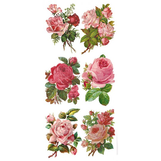 1 Sheet of Stickers Mixed Pink Rose Bouquets ~ Trade Card Style
