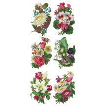 1 Sheet of Stickers Exotic Flower Bouquets ~ Trade Card Style