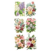 1 Sheet of Stickers Mixed Pastel Springtime Flowers ~ Trade Card Style