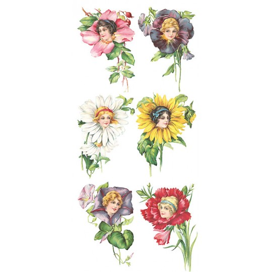 1 Sheet of Stickers Mixed Flower Maidens ~ Trade Card Style