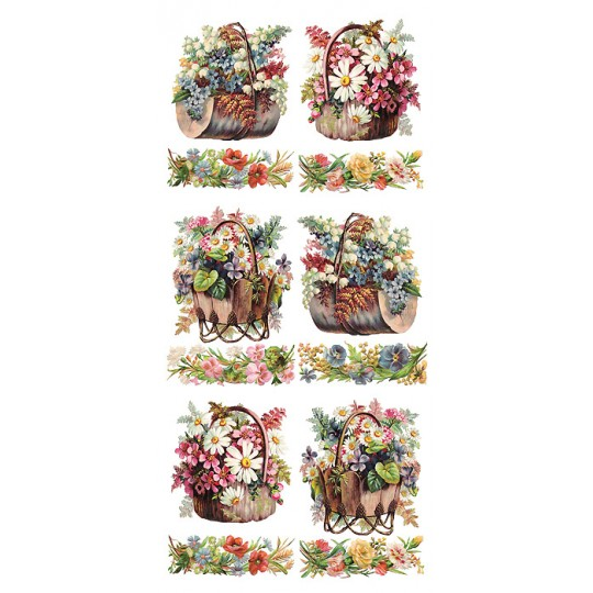 1 Sheet of Stickers Mixed Flower Baskets and Borders ~ Trade Card Style