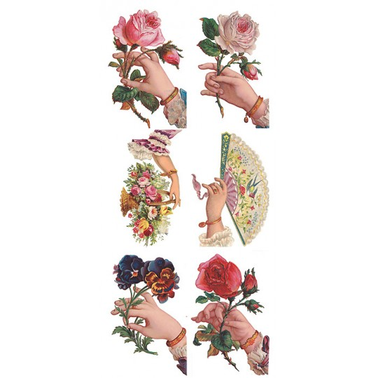 1 Sheet of Stickers Victorian Hands and Flowers ~ Trade Card Style