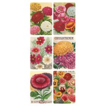 1 Sheet of Stickers Vintage Seed Pack Flowers ~ Trade Card Style
