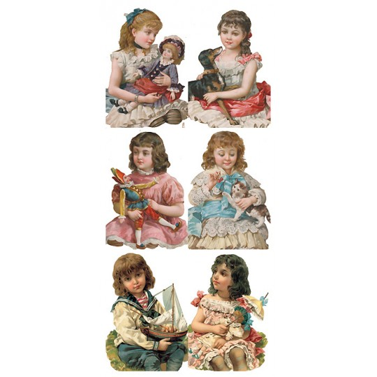 1 Sheet of Stickers Victorian Children ~ Trade Card Style