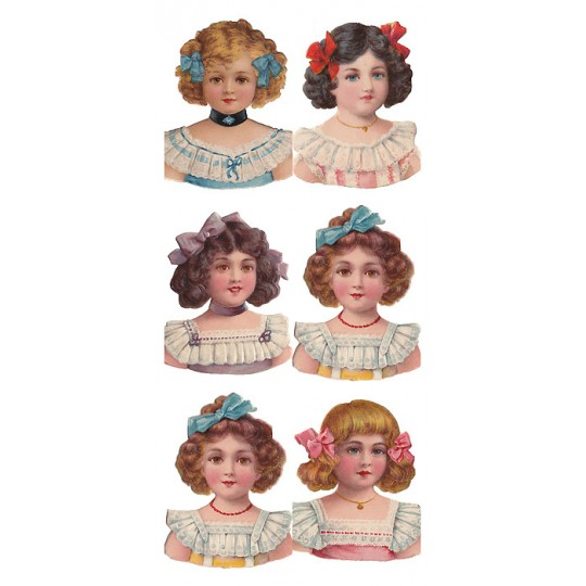 1 Sheet of Stickers Victorian Girls ~ Trade Card Style
