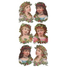 1 Sheet of Stickers Victorian Fruit Girls ~ Trade Card Style