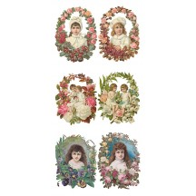 1 Sheet of Stickers Victorian Children in Flower Frames ~ Trade Card Style