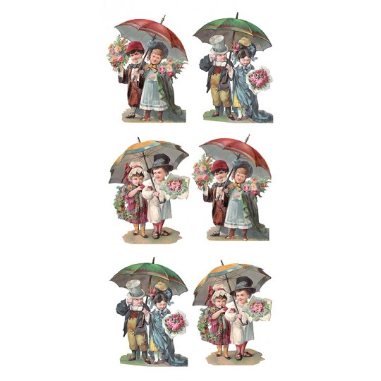 1 Sheet of Stickers Victorian Children with Umbrellas ~ Trade Card Style