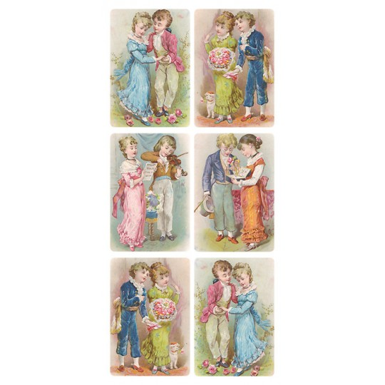 1 Sheet of Stickers Mixed Victorian Couples ~ Trade Card Style