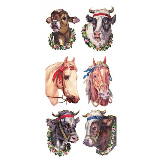 1 Sheet of Stickers Mixed Cows and Horses ~ Trade Card Style