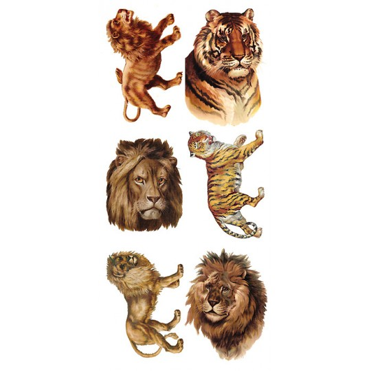 1 Sheet of Stickers Lions and Tigers ~ Trade Card Style