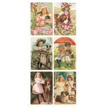 1 Sheet of Stickers Victorian Girls with Dogs ~ Trade Card Style