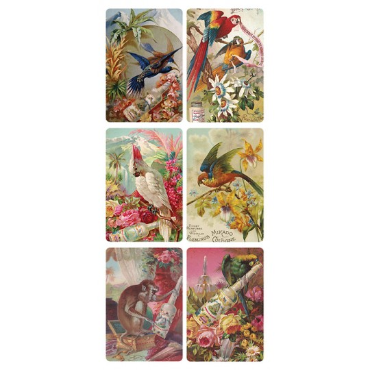 1 Sheet of Stickers Cosmetic Advertising Images with Birds ~ Trade Card Style