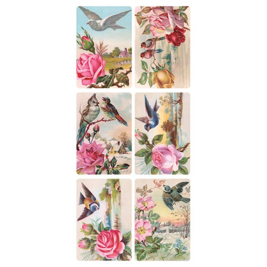 1 Sheet of Stickers Birds and PInk Flowers ~ Trade Card Style