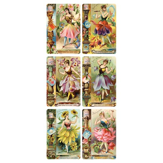 1 Sheet of Stickers Flower Girl Advertising Images ~ Trade Card Style
