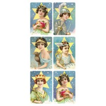 1 Sheet of Stickers Victorian Beauties with Stars ~ Trade Card Style