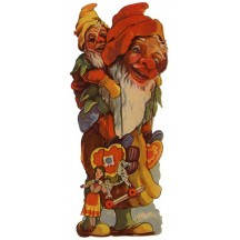 Extra Large Gnome with Toys Vintage Scrap ~ Germany