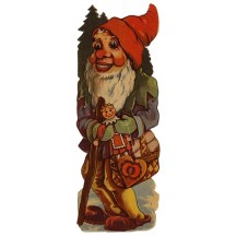 Extra Large Gnome with Basket Vintage Scrap ~ Germany