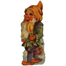 Extra Large Gnome with Candle Vintage Scrap ~ Germany