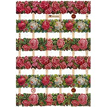 Pretty Roses Border Scraps with Glitter ~ Germany