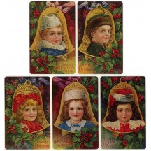 8 Assorted Victorian Christmas Children with Bells Stickers