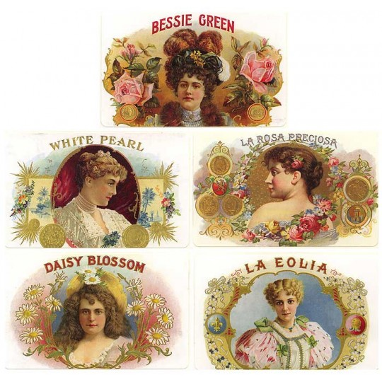 8 Assorted Vintage Cigar Label Stickers