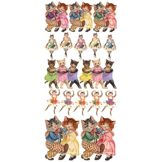 1 Sheet of Stickers Dancing Cats and Kitties