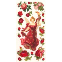 1 Sheet of Stickers Red Rose Angel