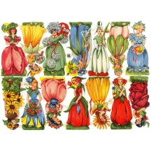 Rare Vintage EAS Colorful Flower Girls Scraps ~ Germany
