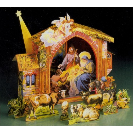 Large Paper Christmas Manger Creche Project Kit ~ Germany