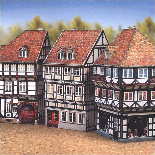 Three Petite Old Town Half-Timbered Houses Paper Project Kit ~ Germany