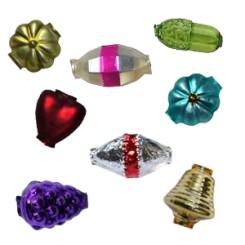 Classic Shape Blown Glass Garland Beads