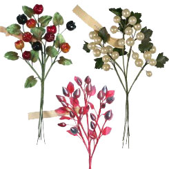 Vintage Pearlized and Glass Fruits, Berries and Sprays