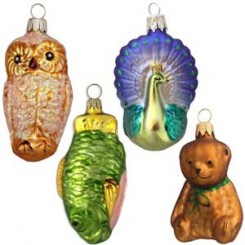 bears animals owls and fish - Blown Glass Christmas Ornaments