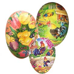 Papier Mache Eggs with Roosters, Chicks, Bunnies + Animals