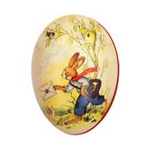 """4 1/2"""" Papier Mache Bunny Easter Egg Container ~ Germany"""