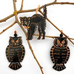 Halloween Craft Tutorial: Dresden Owl + Cat Ornaments