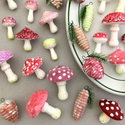 Spun Cotton Mushrooms and Pine Cones ~ A Painting and Embellishment Tutorial