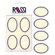 12 Classic Oval Stickers with Blue Stripes ~ Made in Italy ~ Rossi