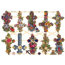 Pretty Floral Crosses Easter Scraps ~ Germany