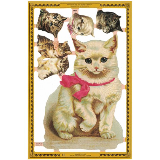 Mixed Cat Die-cut Scraps ~ England