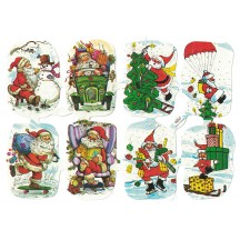 Jolly Santas Embossed Scraps