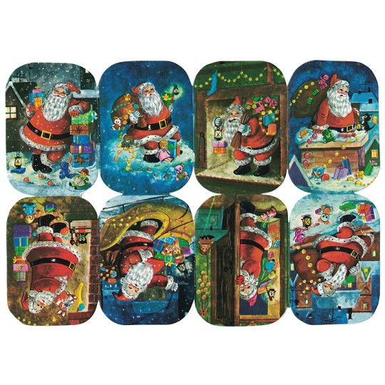 Nighttime Santa with Gifts Embossed Scraps