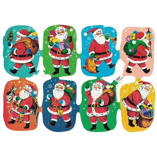 Colorful Santa with Gifts Embossed Scraps