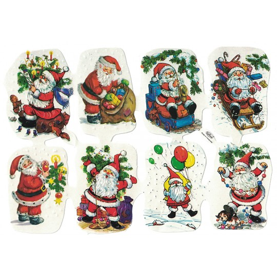 Santa with Greenery Embossed Scraps