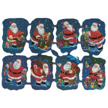 Nighttime Santa with Toys Embossed Scraps