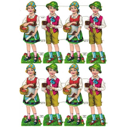 Vintage PZB Bavarian Boys and Girls Scraps ~ Germany