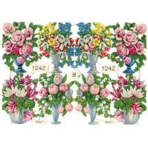 Vintage PZB Pastel Springtime Flower Bouquet Scraps ~ Germany