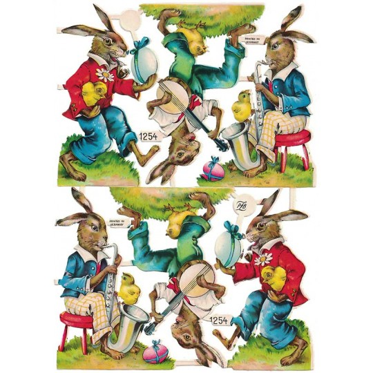Vintage PZB Musical Easter Bunnies Scraps ~ Germany