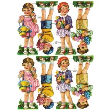 Vintage PZB Smiling Boys and Girls Scraps ~ Germany